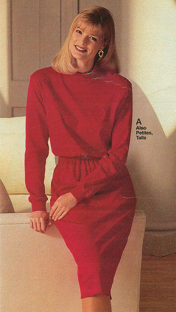 Early 90s fashion woman: in a  red dress