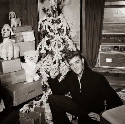 Elvis and a Christmas tree