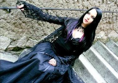 Woman in goth fashion in the late 90s