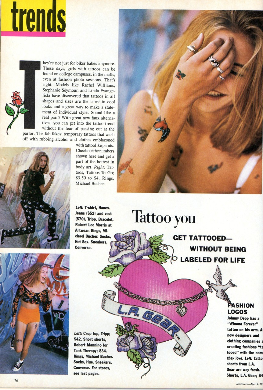 Magazine ad for fake tattoos in the 90s