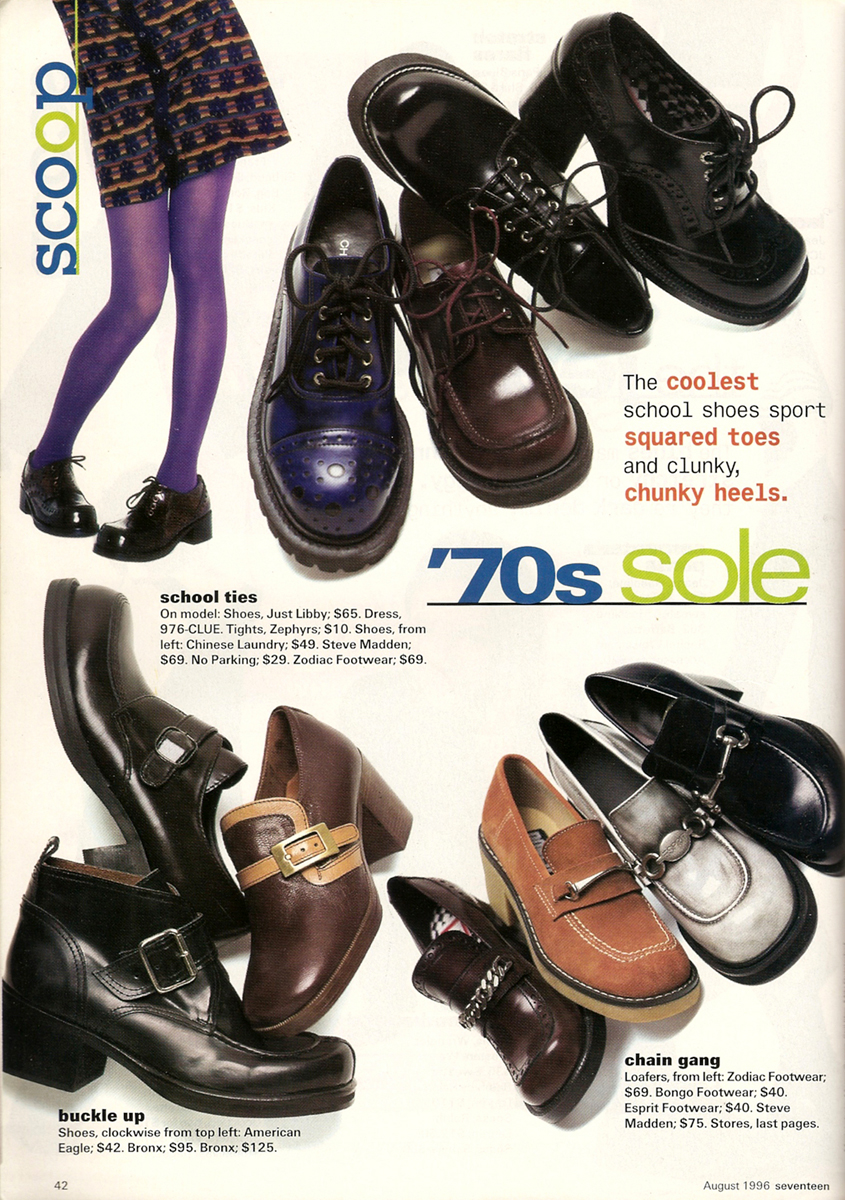 70s inspired shoes in the 90s