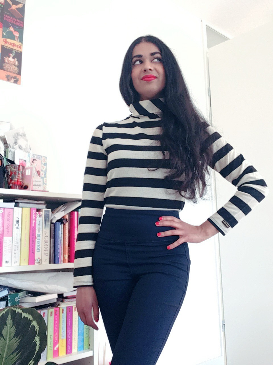 High waisted pants striped top retro style winter