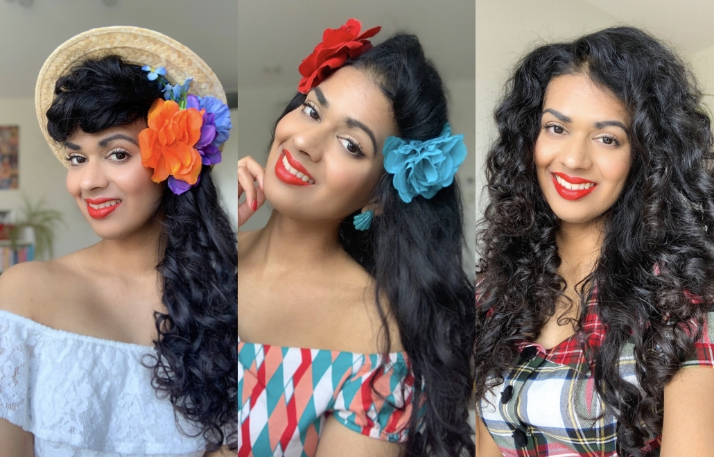 Headband curls vintage hairstyle long haircollage