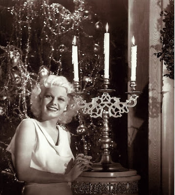 Jean Harlow with Christmas tree
